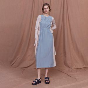バイカラーニットドレス