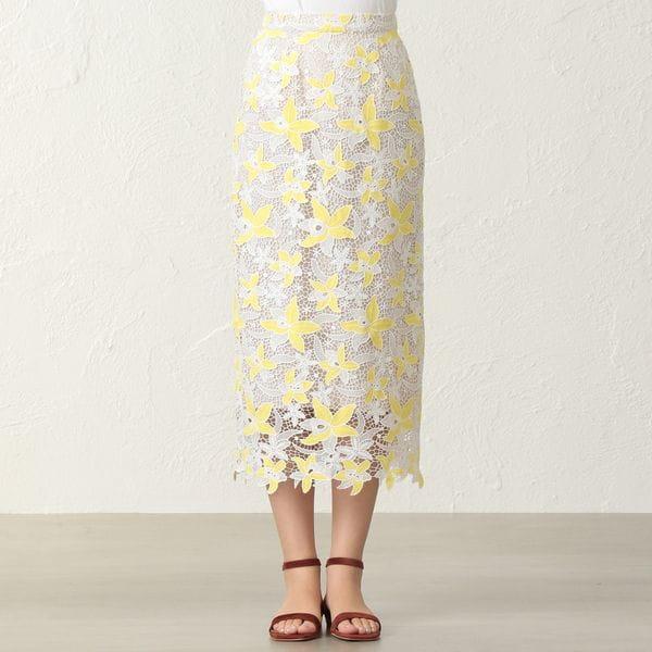 カラーレースタイトスカート
